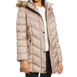 KENNETH COLE Faux Fur Trim Puffer Jacket in Taupe